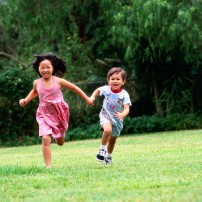 Brother and Sister Running